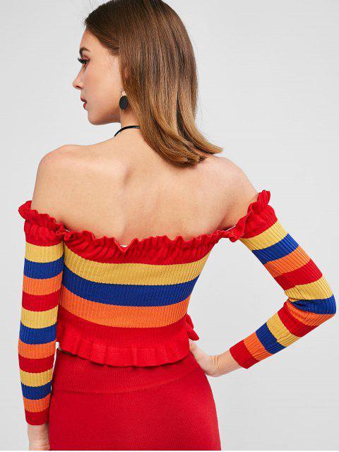 Schulterfreier Regenbogen Streifen Schulterfrei Pullover - Multi M Mobile