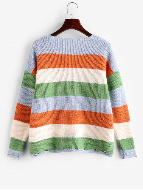 sale Colorblock Striped Roll Trim Slit Ripped Sweater - MULTI-A ONE SIZE Mobile