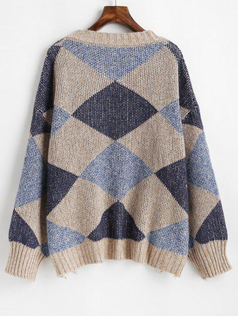 sale Drop Shoulder Geometric Graphic Distressed Sweater - MULTI ONE SIZE Mobile