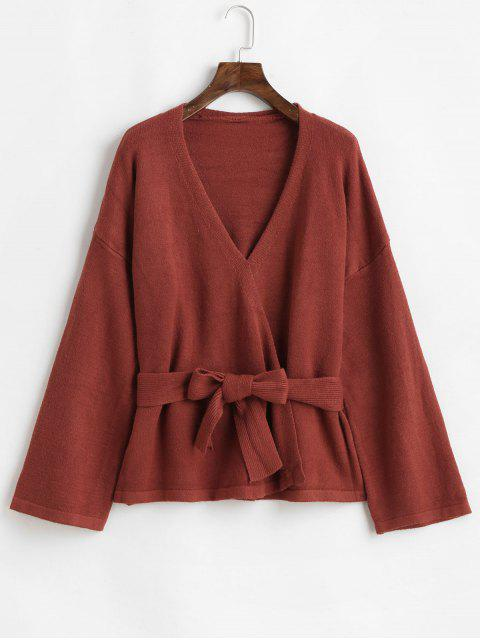 sale Open Front Belted Drop Shoulder Cardigan - COFFEE ONE SIZE Mobile