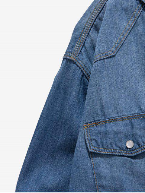 Sólido Botón de bolsillo en el pecho curvo Hem básico Jean Camisa - Azul Claro S Mobile