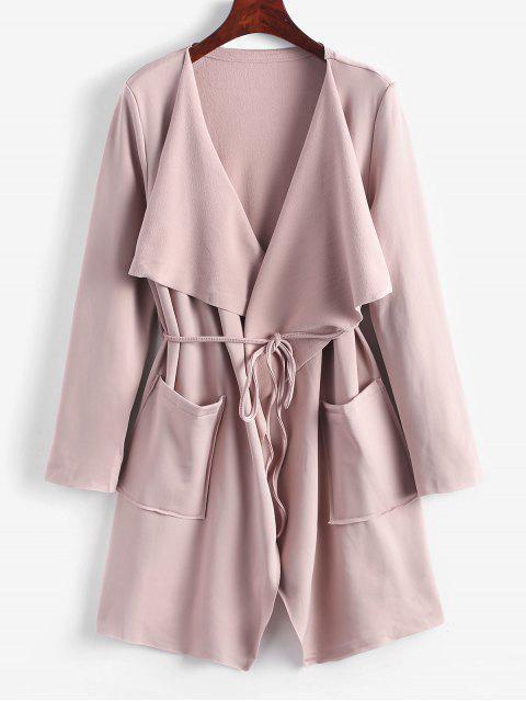Manteau Cascade Ceinturé Jointif avec Poches - Rose  S Mobile