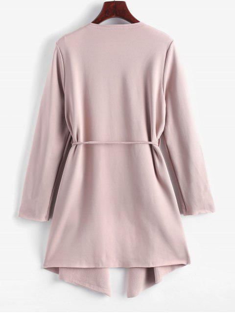 outfits Belted Skirted Patched Pockets Waterfall Coat - PINK S Mobile