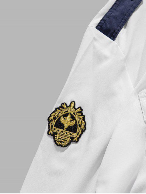 Stickerei Applikationen Brusttaschen Hemd mit Abgerundetem Saum - Weiß M Mobile