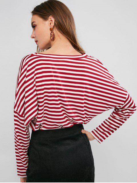 women's Drop Shoulder V Neck Contrast Stripes Tee - RED L Mobile