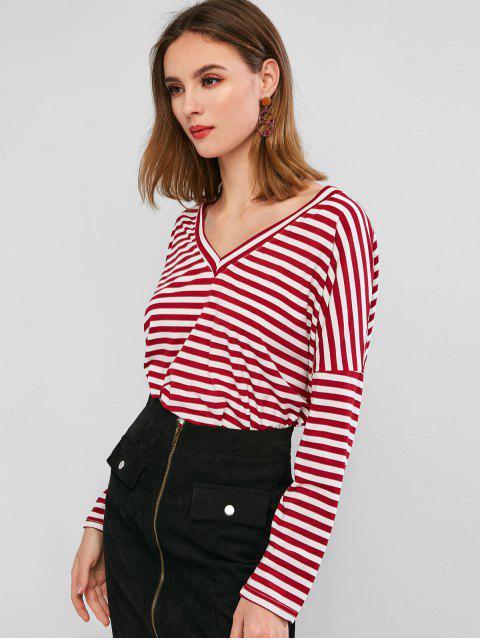 shop Drop Shoulder V Neck Contrast Stripes Tee - RED XL Mobile