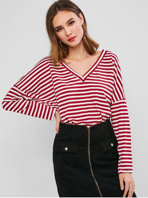 chic Drop Shoulder V Neck Contrast Stripes Tee - RED M Mobile