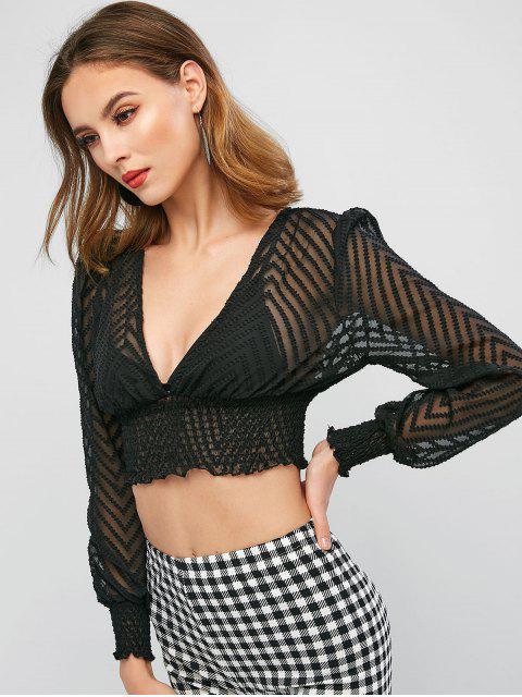 women's Swiss Dot Plunge See Thru Smocked Blouse - BLACK XL Mobile