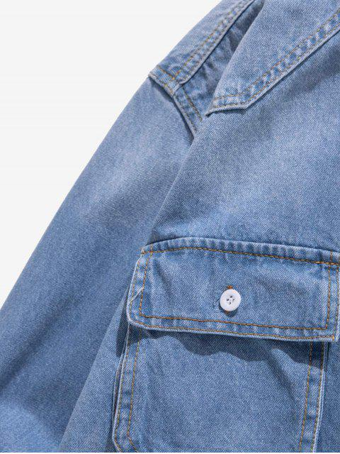 lady Letter Print Applique Chest Pocket Button Denim Shirt - LIGHT BLUE S Mobile