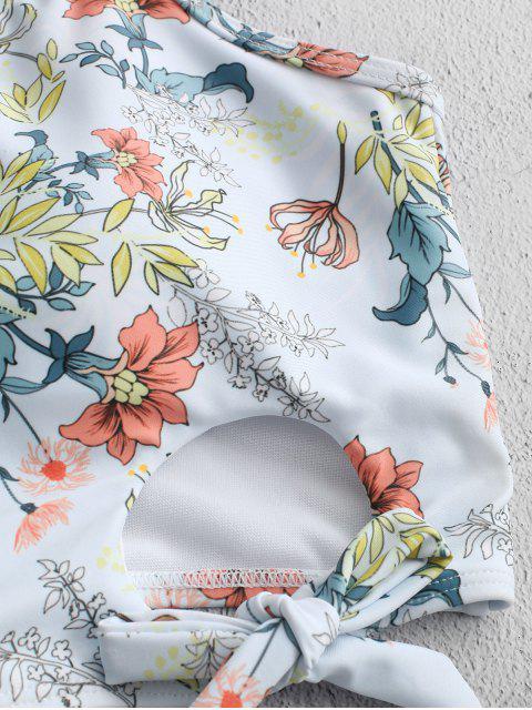 ZAFUL Planta de Impresión con cordones recorte acanalada de Tankini del traje de baño - Coral Azul M Mobile