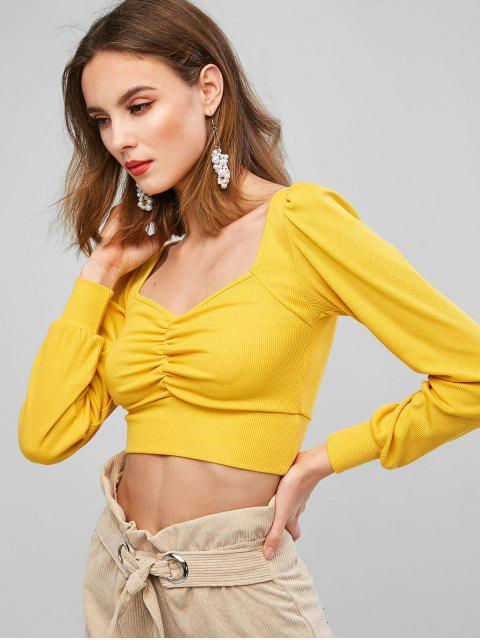 fancy Sweetheart Neck Ribbed Ruched Long Sleeve Tee - YELLOW S Mobile