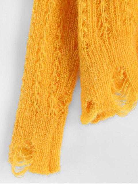 ZAFUL Midi Strickkleider mit Türkis und unregelmäßigem Saum - Gelb Eine Größe Mobile
