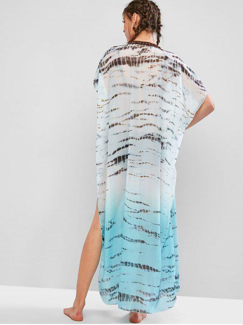 trendy Tie Dye Slit Maxi Beach Kaftan Dress - MACAW BLUE GREEN S Mobile