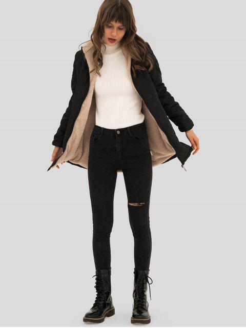 Manteau Long à Capuche à Doublure en Laine - Noir M Mobile