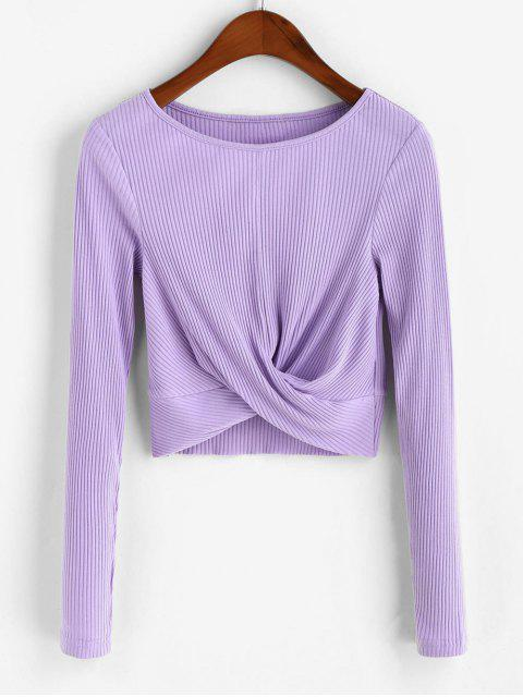 womens Twist Front Ribbed Solid Crop Tee - PURPLE L Mobile