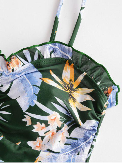ZAFUL hoja floral Frilled con cordones acanalado Tankini del traje de baño - Multicolor S Mobile