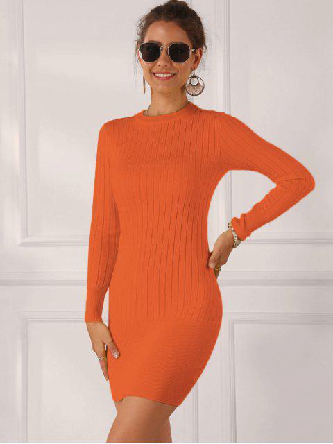 純色羅紋Bodycon連衣裙 - 橙子 S Mobile