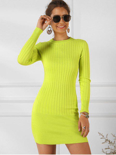 Einfarbiges Geripptes Bodycon Kleid - Gelb S Mobile