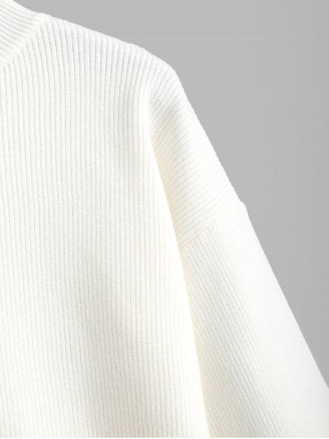Einfacher Stehkragen Fallschulter Pullover - Weiß Eine Größe Mobile