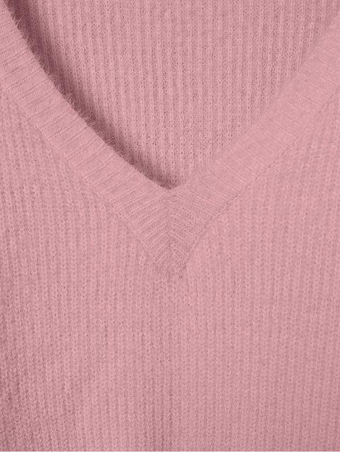 ZAFUL Pull Fourré en Tricot à Col V - Rose Rosé XL Mobile