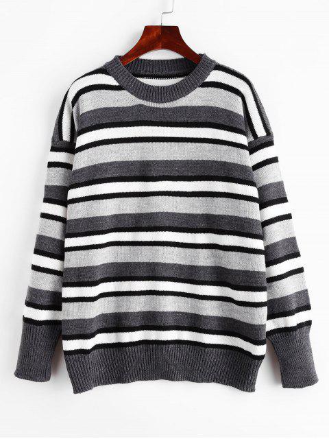 落肩條紋毛衣套衫 - 灰色 One Size Mobile