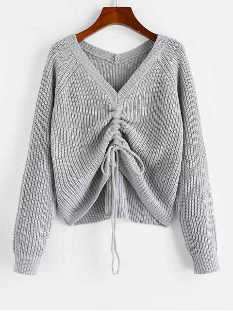 shop ZAFUL V Neck Shirred Ribbed High Low Sweater - GRAY GOOSE S Mobile