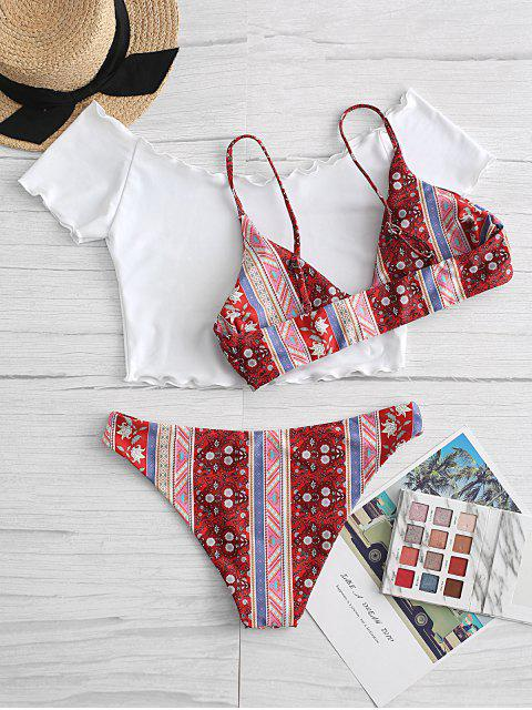 ladies ZAFUL Lettuce Trim Bohemian Printed Three Piece Swimsuit - VALENTINE RED S Mobile