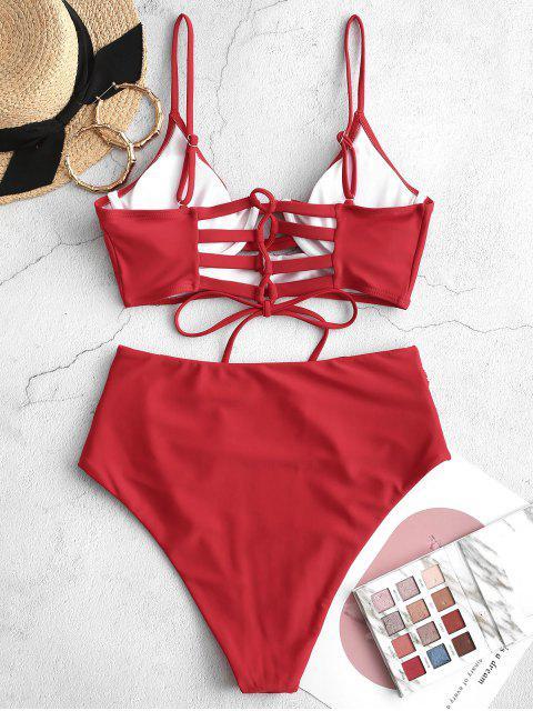 ZAFUL綁帶褶飾鋼圈比基尼泳裝 - 紅 2XL Mobile