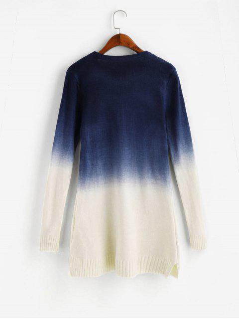 affordable Ombre Side Slit Knit Slim Sweater - NAVY BLUE S Mobile