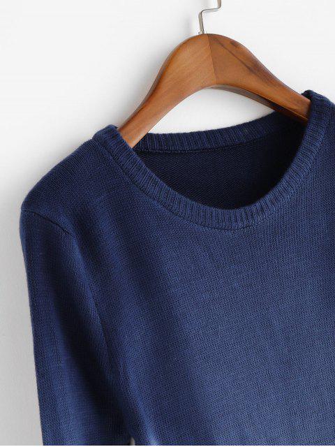hot Ombre Side Slit Knit Slim Sweater - NAVY BLUE M Mobile