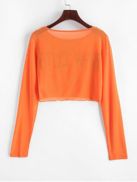 Camiseta Cortada Trasparente de Malla con Mangas Cortas - Naranja L Mobile