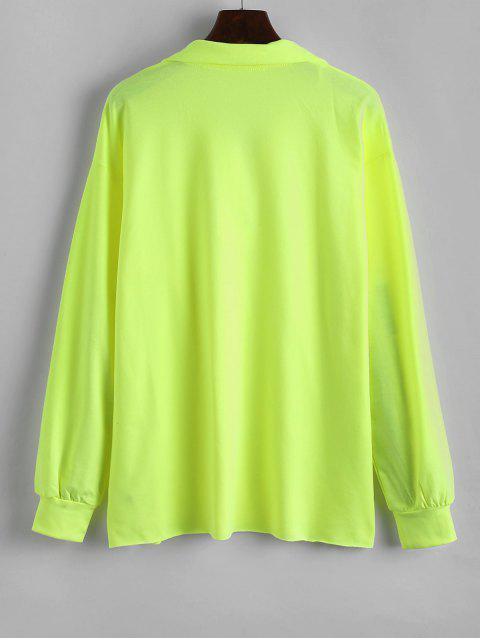 lady Neon Quarter Zip Drop Shoulder Longline Sweatshirt - TEA GREEN L Mobile