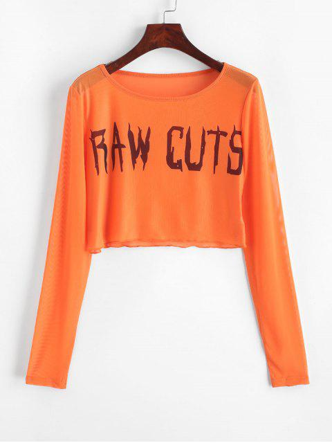 outfit Mesh Raw Cuts Graphic Crop T-shirt - ORANGE M Mobile