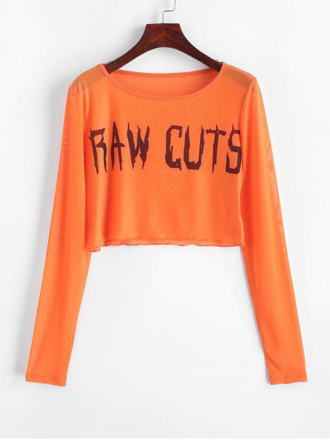 Camiseta Cortada Trasparente de Malla con Mangas Cortas - Naranja S Mobile