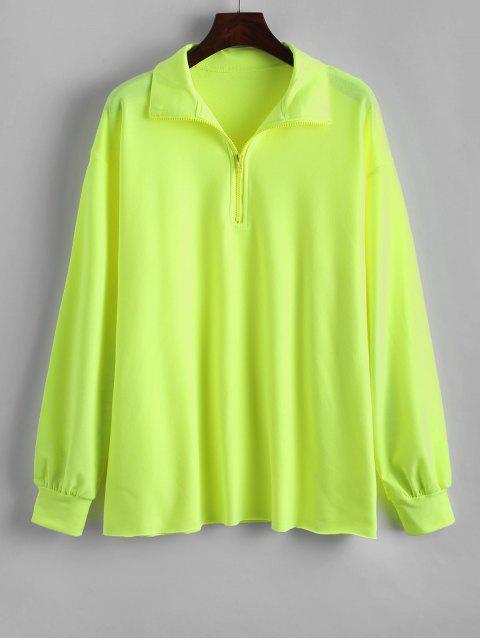 fancy Neon Quarter Zip Drop Shoulder Longline Sweatshirt - TEA GREEN S Mobile