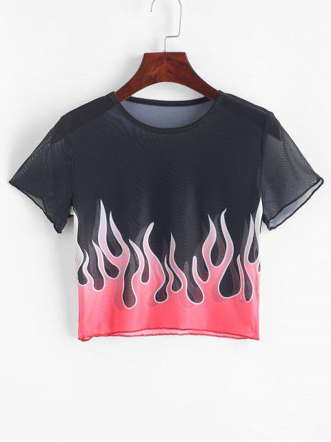 Camiseta Corta Estampado Fuego Malla - Multicolor L Mobile