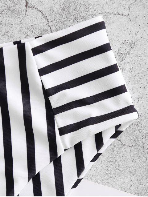 outfits ZAFUL Striped High Waisted Swim Bottom - MULTI-A L Mobile