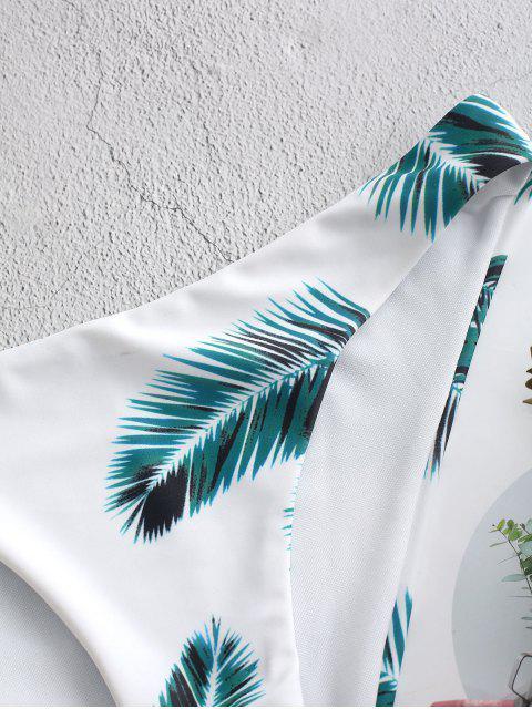 ZAFULCalcinhasdeBiquíni comFolha de Impressão Tropical - Branco M Mobile