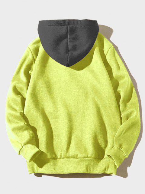 Sudadera con Capuchade Lana con Bolsillo de Parche de Carta de Color de Bloqueo - Verde Amarillo L Mobile