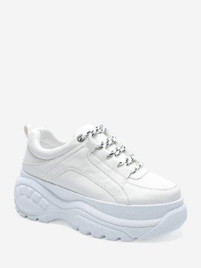 Casual Lace Up Platform Dad Sneakers - White Eu 40