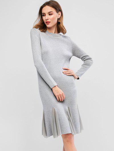 Long Sleeve Mesh Panel Flounced Hem Sweater Dress - Gray