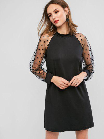 Long Sleeve Polka Dot Mesh Panel Mini Dress - Black S