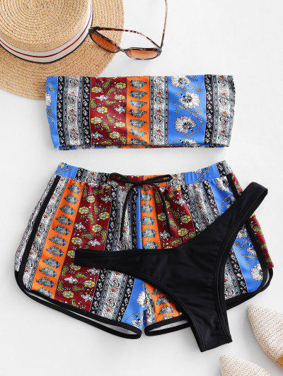 Bohemian Printed Piping Three Piece Swimsuit