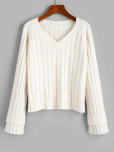 ZAFUL Layered Cuff Ribbed Raglan Sleeve Sweater - Warm White M