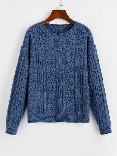 ZAFUL Drop Shoulder Plain Textured Sweater - Slate Blue L