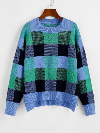 ZAFUL Plaid Drop Shoulder Slit High Low Sweater - Multi M
