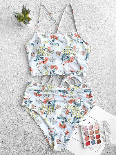 ZAFUL Plant Print Lace-up Cutout Ruched Tankini Swimsuit
