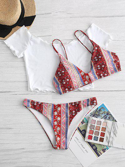 Bohemian Printed Three Piece Swimsuit
