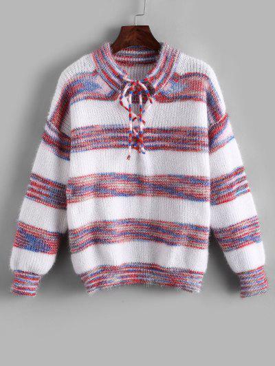 Striped Fuzzy Knit Lace Up Drop Shoulder Sweater - Multi-a