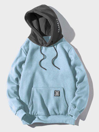 Color-blocking Letter Patch Detail Pouch Pocket Fleece Hoodie - Light Sky Blue L